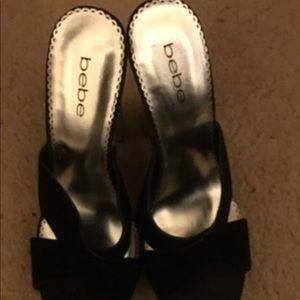 bebe black leather heel sandals 9.5